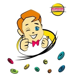 Cartoon nice boy with vitamin pills vector