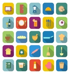 Kitchen color icons with long shadow vector