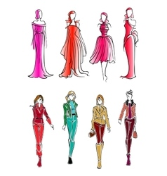 Fashionable girls colorful sketch silhouettes vector