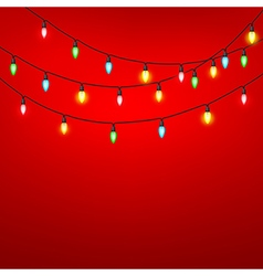 Colorful of light bulb on red background vector