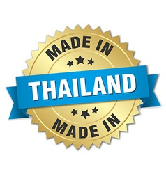 Made in thailand gold badge with blue ribbon vector