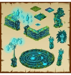 Ancient location Maya glow green stone and glass vector image