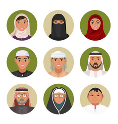 Arabic men and women of all ages portraits in vector