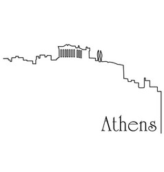 athens city one line drawing background vector image vector image