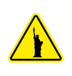 attention america statue of liberty on yellow vector image vector image