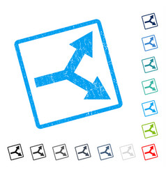 Bifurcation arrow right icon rubber watermark vector
