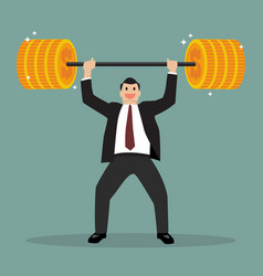 Businessman lifting exercise with barbell coin vector