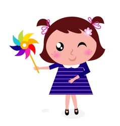 Child with colorful windmill vector