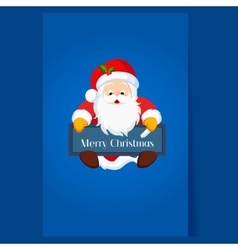 Christmas santa claus holding a chalkboard vector
