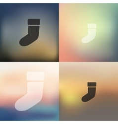 Christmas sock icon on blurred background vector
