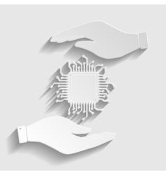Cpu microprocesso paper style icon vector