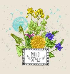 decorative floral sketches vector image