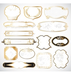 Decorative white golden labels vector image