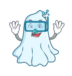 diving cute ghost character cartoon vector image