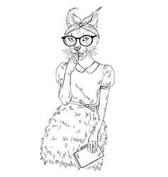 Fashion animal cute hipster caracal cat girl vector