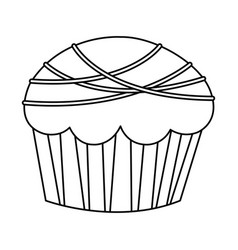 Figure muffin with chocolate icon vector
