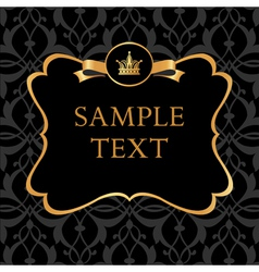 Golden Label on Damask black Background vector image vector image