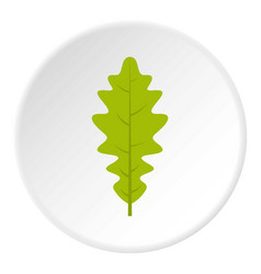 Green oak leaf icon circle vector