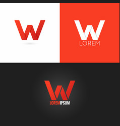 Letter w logo design icon set background vector