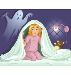 Little girl can not sleep because has fear in the vector image