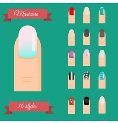 Manicure types nail design art set vector