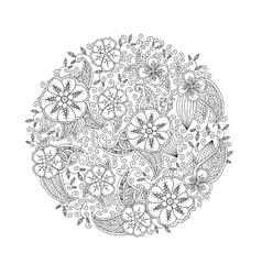 Mendie mandala with flowers and leaves zenart vector
