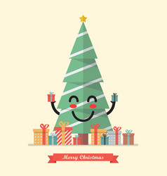 merry christmas with happy christmas tree vector image vector image