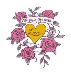 Rose banner love design vector