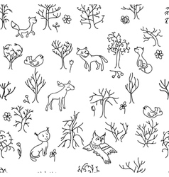 Seamless pattern with trees and animals black vector