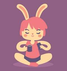 Serene bunny relaxing vector