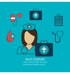 Set nurse services medical isolated vector