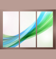 Set of abstract green wave backgrounds for poster vector