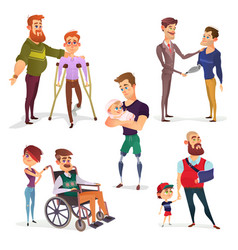 Set of cartoon of people with vector
