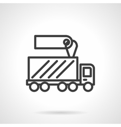 Shipping truck sale black line design icon vector