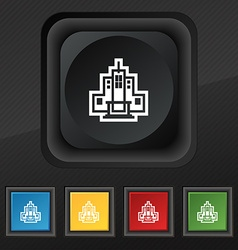 skyscraper icon symbol Set of five colorful vector image vector image