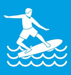 Surfer icon white vector