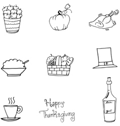 Thanksgiving food set in doodle vector