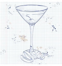 Tuxedo cocktail on a notebook page vector