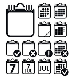Wall Calendar Icons Set vector image vector image