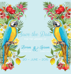 Wedding card with tropical flowers fruits parrot vector