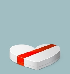 White Gift Box in Heart Shaped for Valentines Day vector image vector image