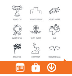 winner cup and award icons race flag signs vector image vector image