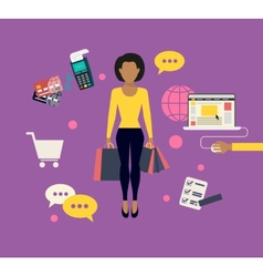 Woman doing shopping online vector image vector image