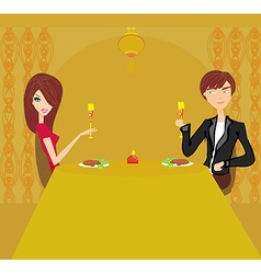 Young couple flirt and drink champagne in vector