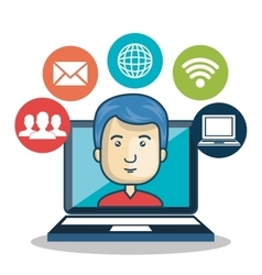 Cartoon guy laptop media connection graphic vector