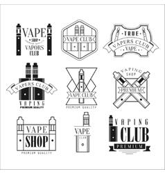 Vape club black and white emblems vector