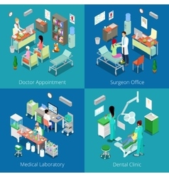 Isometric hospital interior medical laboratory vector