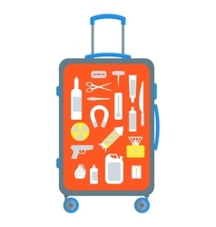 Restricted items set in the suitcase flat vector