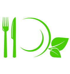 vegetarian icon with leaves fork and knife vector image