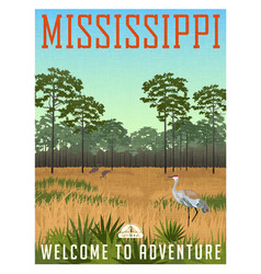 state of mississippi travel poster or sticker vector image